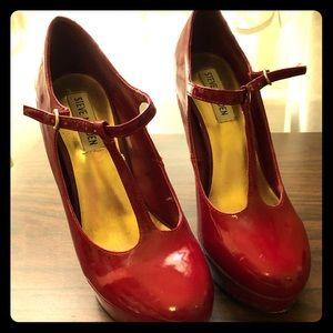Red Steve Madden platform t strap heels
